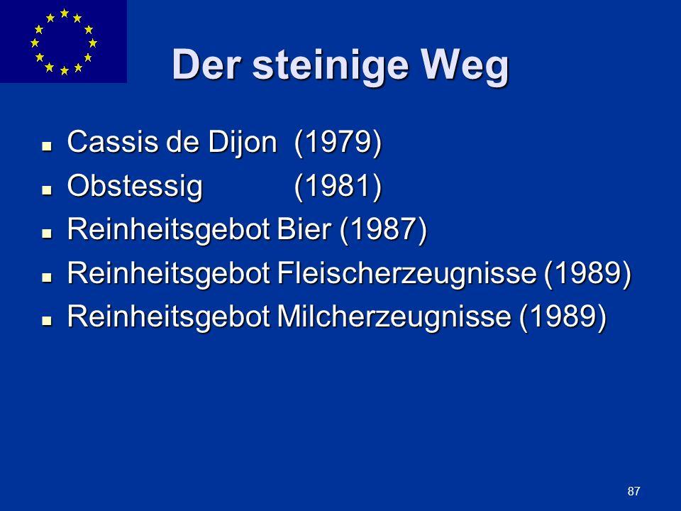 ENLARGEMENT DG 87 Der steinige Weg Cassis de Dijon (1979) Cassis de Dijon (1979) Obstessig (1981) Obstessig (1981) Reinheitsgebot Bier (1987) Reinheit