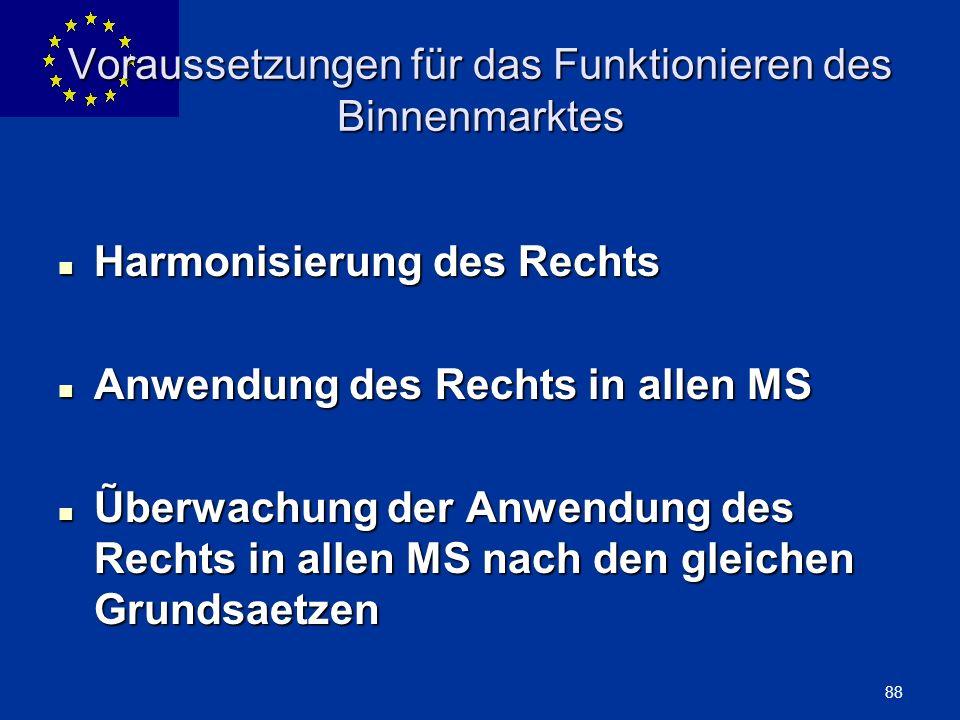 ENLARGEMENT DG 88 Voraussetzungen für das Funktionieren des Binnenmarktes Harmonisierung des Rechts Harmonisierung des Rechts Anwendung des Rechts in