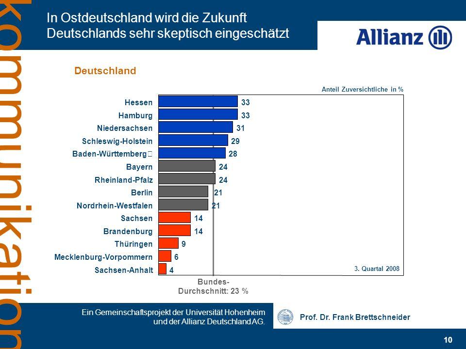 Prof. Dr. Frank Brettschneider 10 Ein Gemeinschaftsprojekt der Universität Hohenheim und der Allianz Deutschland AG. kommunikation In Ostdeutschland w