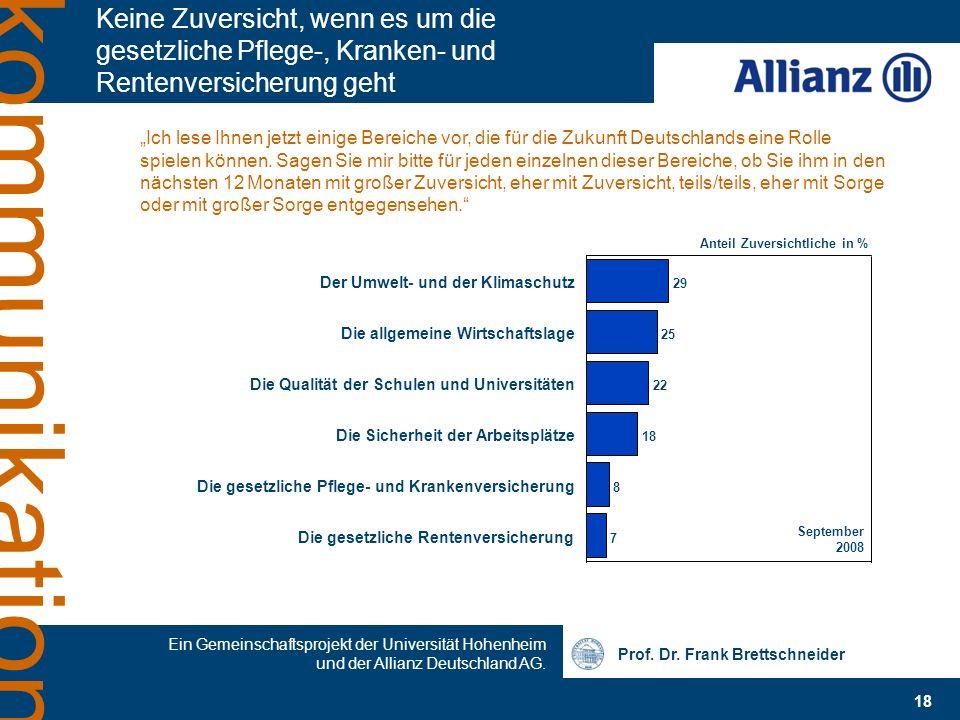 Prof. Dr. Frank Brettschneider 18 Ein Gemeinschaftsprojekt der Universität Hohenheim und der Allianz Deutschland AG. kommunikation Keine Zuversicht, w