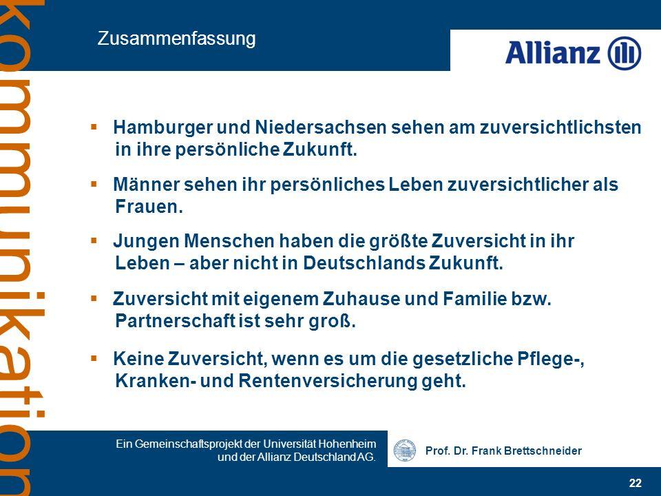 Prof. Dr. Frank Brettschneider 22 Ein Gemeinschaftsprojekt der Universität Hohenheim und der Allianz Deutschland AG. kommunikation Zusammenfassung Ham