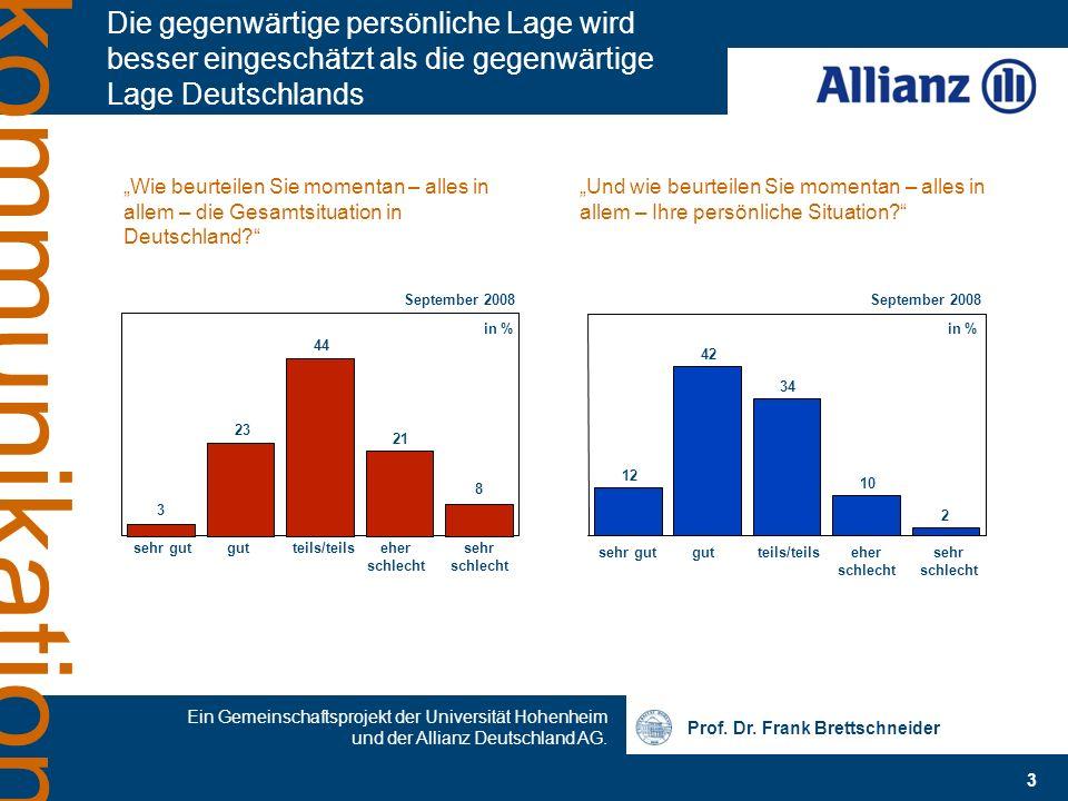 Prof. Dr. Frank Brettschneider Ein Gemeinschaftsprojekt der Universität Hohenheim und der Allianz Deutschland AG. 3 kommunikation Die gegenwärtige per