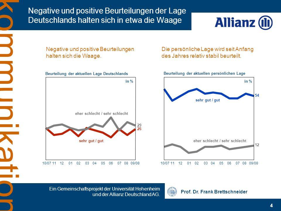 Prof. Dr. Frank Brettschneider Ein Gemeinschaftsprojekt der Universität Hohenheim und der Allianz Deutschland AG. 4 kommunikation Negative und positiv