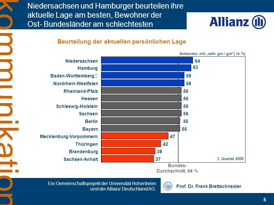 Prof. Dr. Frank Brettschneider Ein Gemeinschaftsprojekt der Universität Hohenheim und der Allianz Deutschland AG. 5 kommunikation Niedersachsen und Ha