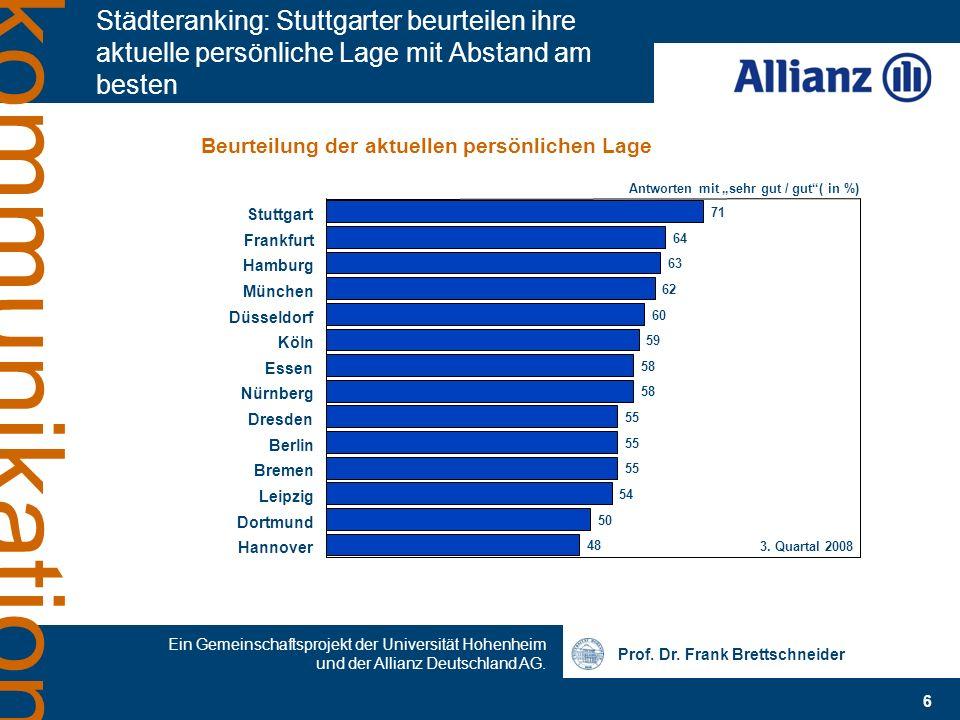 Prof. Dr. Frank Brettschneider Ein Gemeinschaftsprojekt der Universität Hohenheim und der Allianz Deutschland AG. 6 kommunikation Städteranking: Stutt