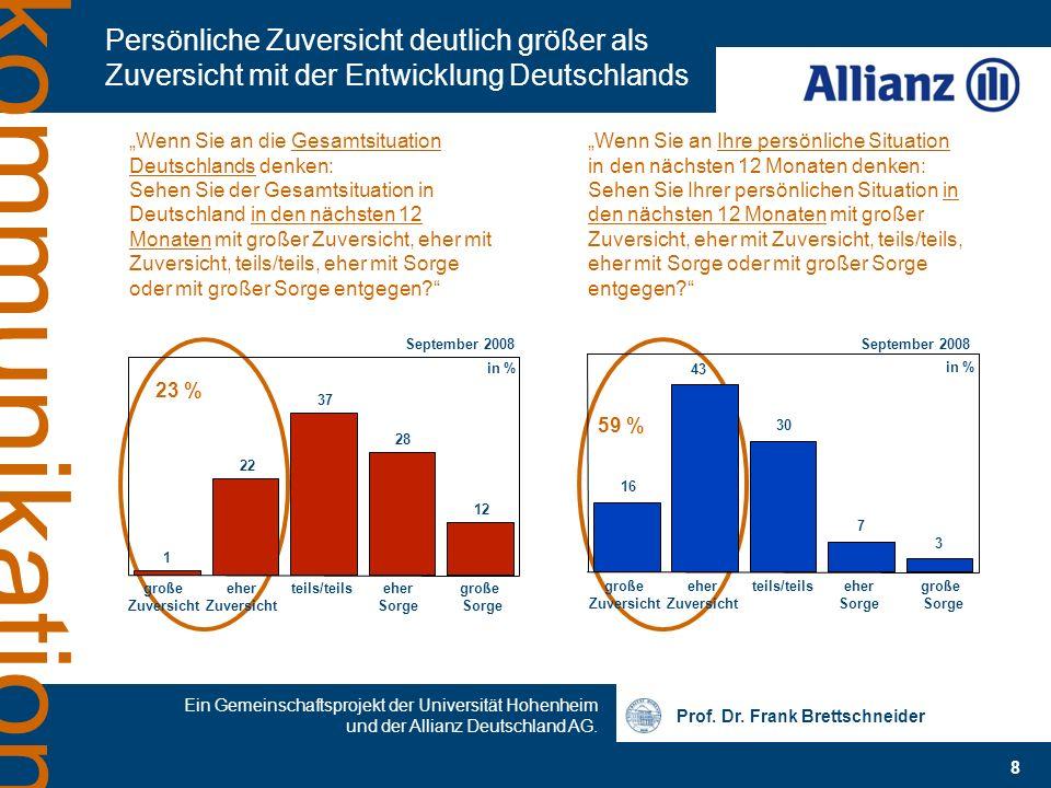Prof. Dr. Frank Brettschneider 8 Ein Gemeinschaftsprojekt der Universität Hohenheim und der Allianz Deutschland AG. kommunikation Persönliche Zuversic
