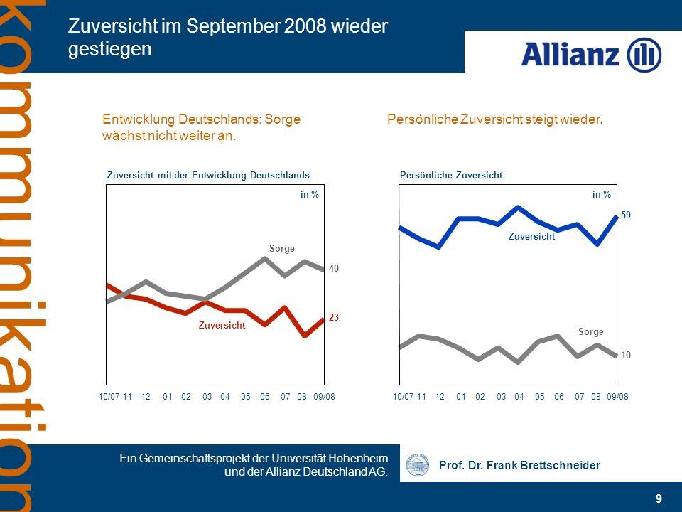 Prof. Dr. Frank Brettschneider 9 Ein Gemeinschaftsprojekt der Universität Hohenheim und der Allianz Deutschland AG. kommunikation Zuversicht im Septem