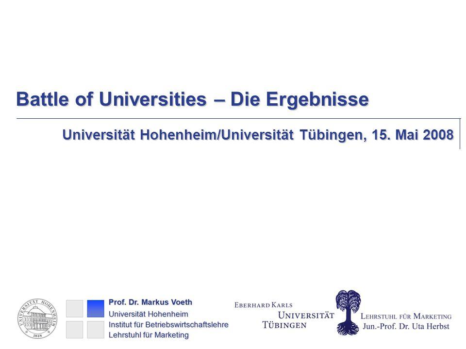 Battle of Universities – Die Ergebnisse Universität Hohenheim/Universität Tübingen, 15. Mai 2008