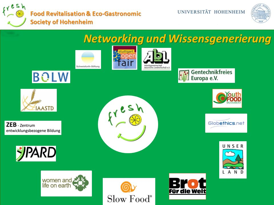 Networking und Wissensgenerierung Food Revitalisation & Eco-Gastronomic Society of Hohenheim