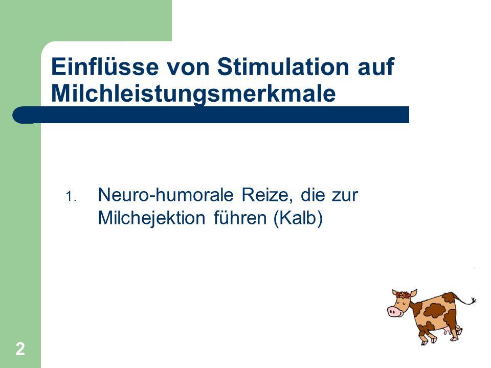 2 Einflüsse von Stimulation auf Milchleistungsmerkmale 1. Neuro-humorale Reize, die zur Milchejektion führen (Kalb)