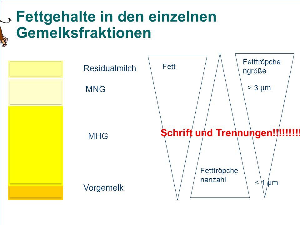 20 Fettgehalte in den einzelnen Gemelksfraktionen Residualmilch MHG MNG Vorgemelk Fett Fetttröpche nanzahl Fetttröpche ngröße < 1 µm > 3 µm Schrift un