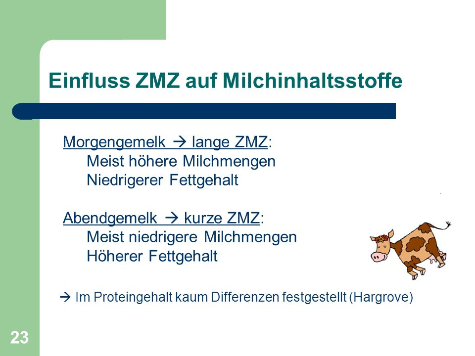 23 Einfluss ZMZ auf Milchinhaltsstoffe Morgengemelk lange ZMZ: Meist höhere Milchmengen Niedrigerer Fettgehalt Abendgemelk kurze ZMZ: Meist niedrigere