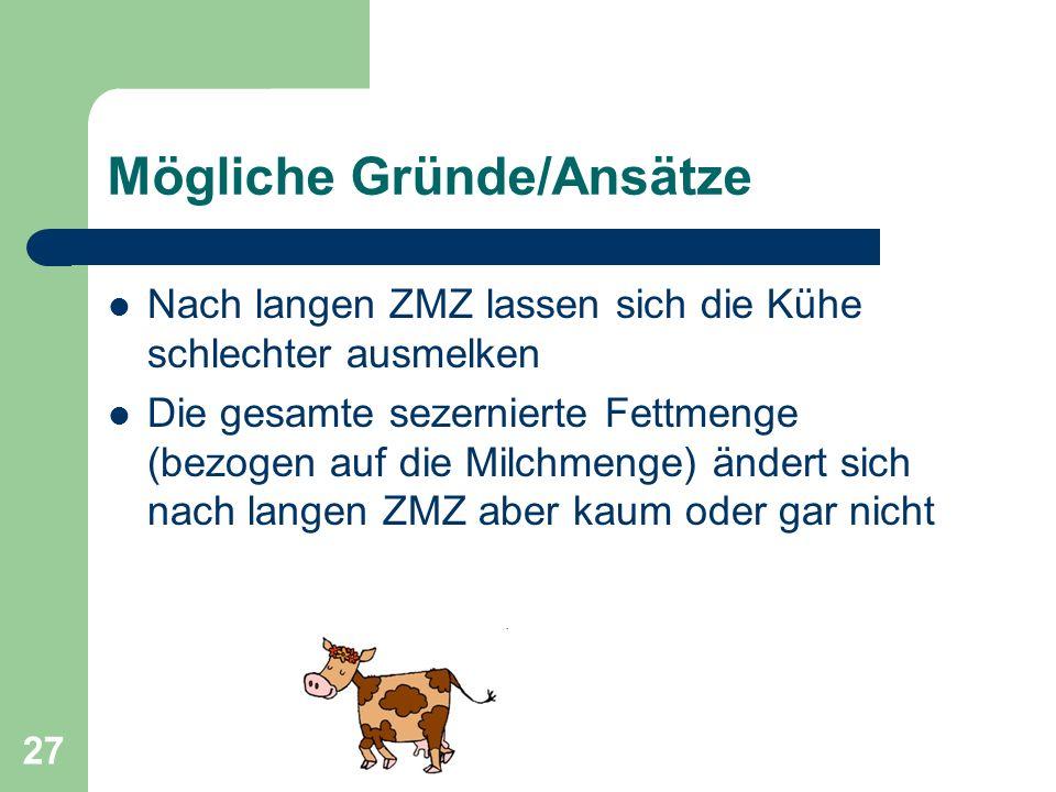 27 Mögliche Gründe/Ansätze Nach langen ZMZ lassen sich die Kühe schlechter ausmelken Die gesamte sezernierte Fettmenge (bezogen auf die Milchmenge) än