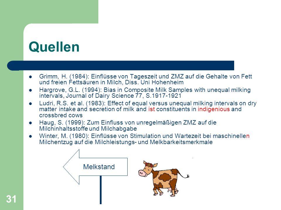 31 Quellen Grimm, H. (1984): Einflüsse von Tageszeit und ZMZ auf die Gehalte von Fett und freien Fettsäuren in Milch, Diss. Uni Hohenheim Hargrove, G.