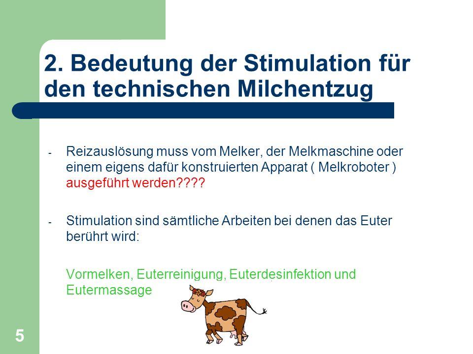 5 2. Bedeutung der Stimulation für den technischen Milchentzug - Reizauslösung muss vom Melker, der Melkmaschine oder einem eigens dafür konstruierten