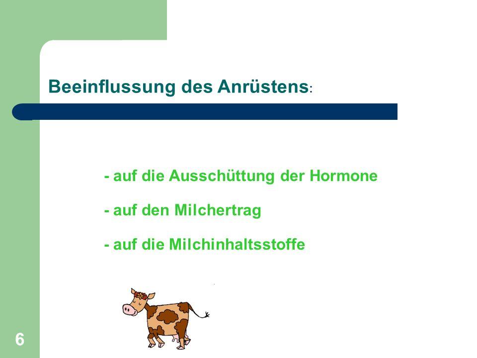 6 - auf die Ausschüttung der Hormone - auf den Milchertrag - auf die Milchinhaltsstoffe Beeinflussung des Anrüstens :