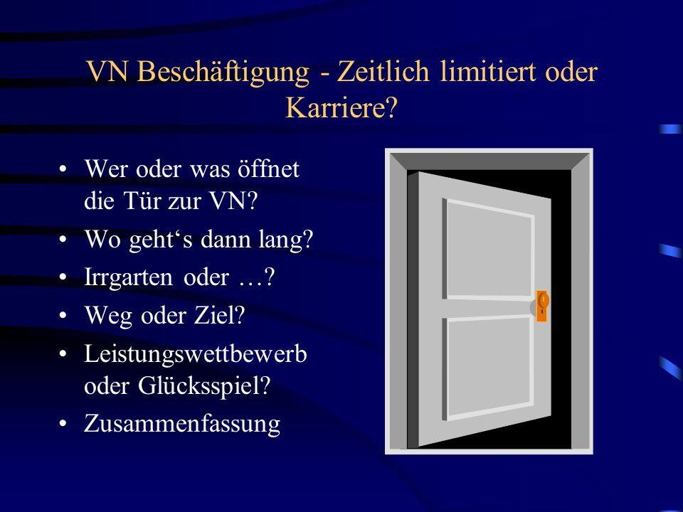 VN Beschäftigung - Zeitlich limitiert oder Karriere? Wer oder was öffnet die Tür zur VN? Wo gehts dann lang? Irrgarten oder …? Weg oder Ziel? Leistung