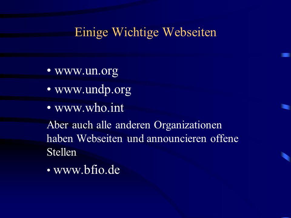 Einige Wichtige Webseiten www.un.org www.undp.org www.who.int Aber auch alle anderen Organizationen haben Webseiten und announcieren offene Stellen ww