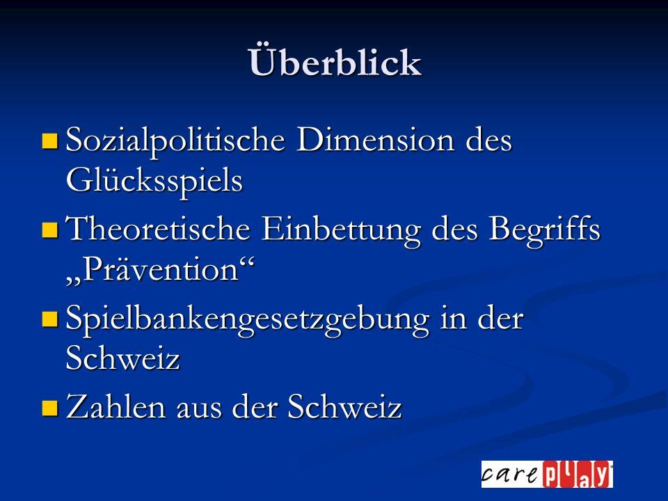 Überblick Sozialpolitische Dimension des Glücksspiels Sozialpolitische Dimension des Glücksspiels Theoretische Einbettung des Begriffs Prävention Theoretische Einbettung des Begriffs Prävention Spielbankengesetzgebung in der Schweiz Spielbankengesetzgebung in der Schweiz Zahlen aus der Schweiz Zahlen aus der Schweiz