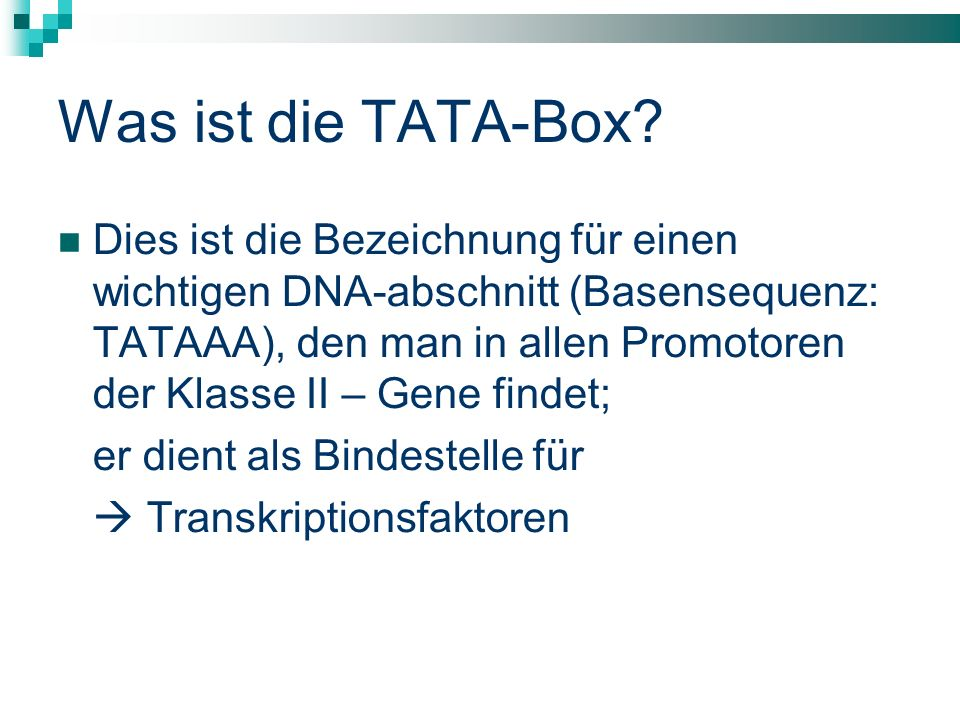 Was ist die TATA-Box? Dies ist die Bezeichnung für einen wichtigen DNA-abschnitt (Basensequenz: TATAAA), den man in allen Promotoren der Klasse II – G