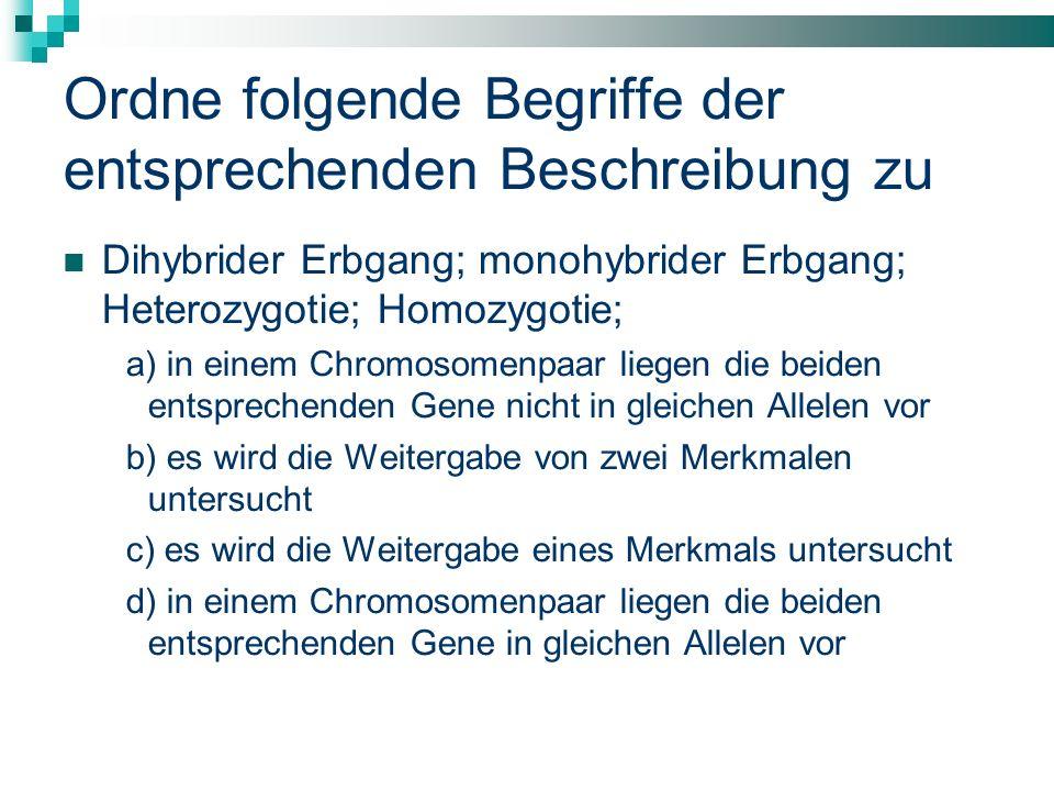 Ordne folgende Begriffe der entsprechenden Beschreibung zu Dihybrider Erbgang; monohybrider Erbgang; Heterozygotie; Homozygotie; a) in einem Chromosom