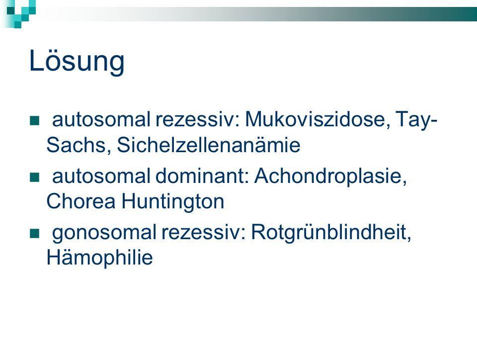 Lösung autosomal rezessiv: Mukoviszidose, Tay- Sachs, Sichelzellenanämie autosomal dominant: Achondroplasie, Chorea Huntington gonosomal rezessiv: Rot