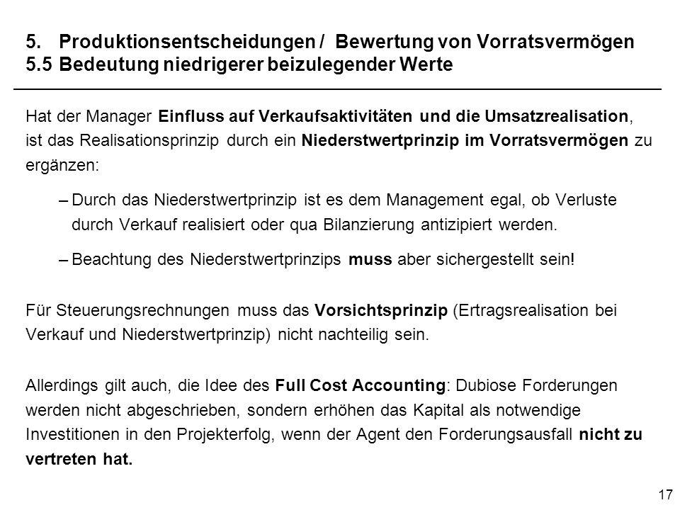 17 5.Produktionsentscheidungen / Bewertung von Vorratsvermögen 5.5Bedeutung niedrigerer beizulegender Werte Hat der Manager Einfluss auf Verkaufsaktiv