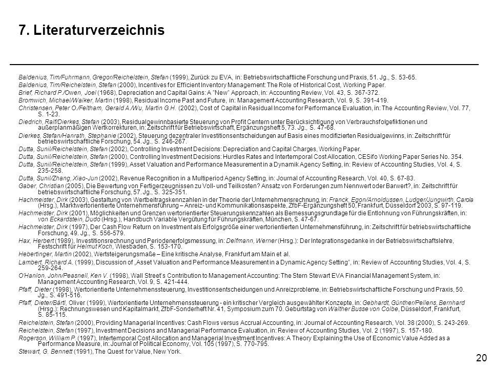 20 7. Literaturverzeichnis Baldenius, Tim/Fuhrmann, Gregor/Reichelstein, Stefan (1999), Zurück zu EVA, in: Betriebswirtschaftliche Forschung und Praxi