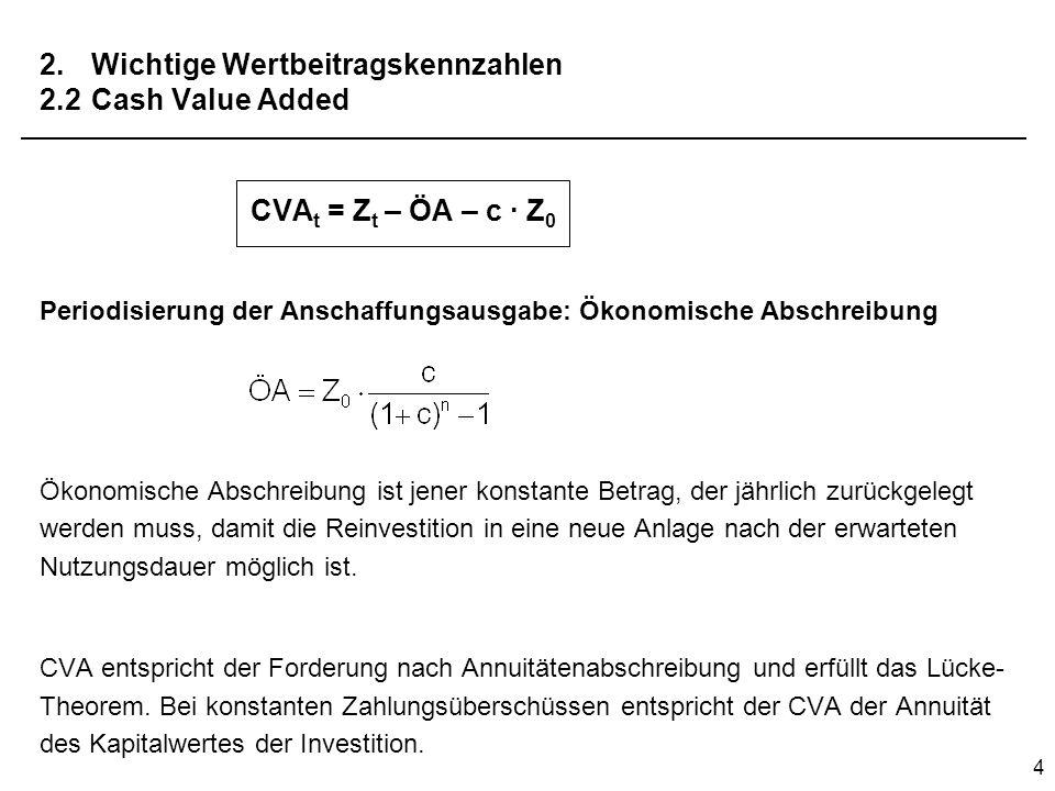 4 2. Wichtige Wertbeitragskennzahlen 2.2Cash Value Added CVA t = Z t – ÖA – c · Z 0 Periodisierung der Anschaffungsausgabe: Ökonomische Abschreibung Ö