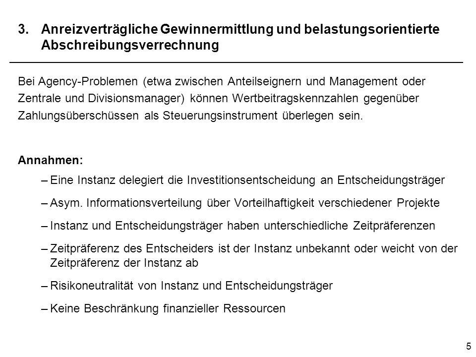 5 3.Anreizverträgliche Gewinnermittlung und belastungsorientierte Abschreibungsverrechnung Bei Agency-Problemen (etwa zwischen Anteilseignern und Mana