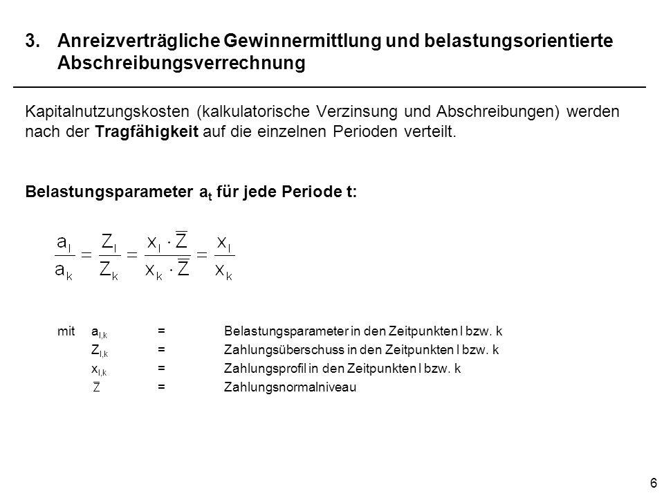 7 3.Anreizverträgliche Gewinnermittlung und belastungsorientierte Abschreibungsverrechnung Aufgrund der Proportionalität von a t und x t in allen Perioden t gilt Barwert der Belastungsparameter muss 1 ergeben, damit das Lücke-Theorem gilt.