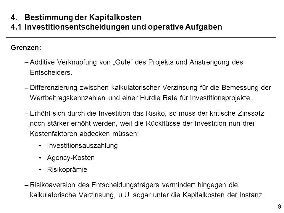 9 4.Bestimmung der Kapitalkosten 4.1Investitionsentscheidungen und operative Aufgaben Grenzen: –Additive Verknüpfung von Güte des Projekts und Anstren