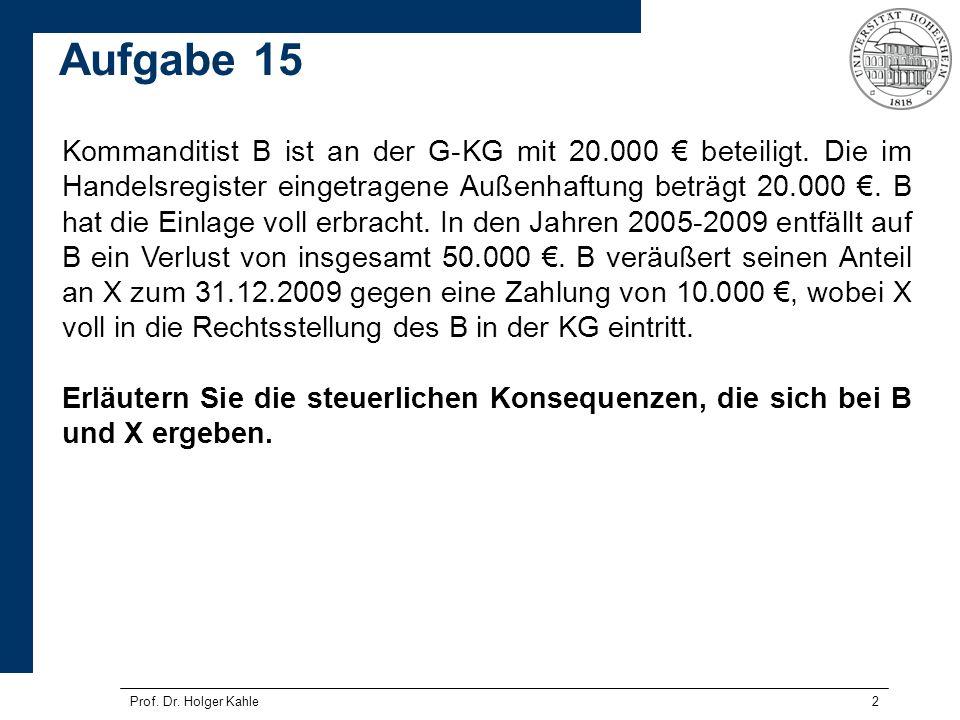 Prof. Dr. Holger Kahle2 Kommanditist B ist an der G-KG mit 20.000 beteiligt. Die im Handelsregister eingetragene Außenhaftung beträgt 20.000. B hat di