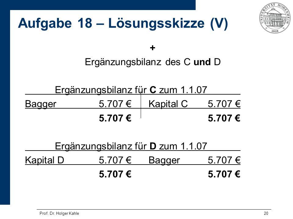 20 + Ergänzungsbilanz des C und D Ergänzungsbilanz für C zum 1.1.07 Bagger5.707 Kapital C5.707 5.707 Ergänzungsbilanz für D zum 1.1.07 Kapital D5.707
