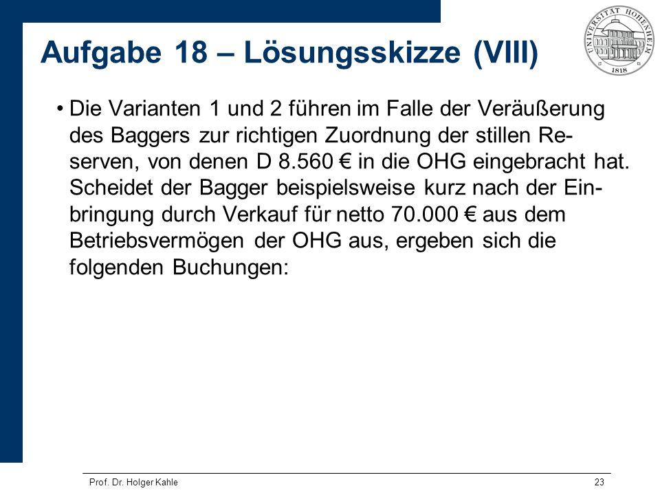 23 Die Varianten 1 und 2 führen im Falle der Veräußerung des Baggers zur richtigen Zuordnung der stillen Re- serven, von denen D 8.560 in die OHG eing