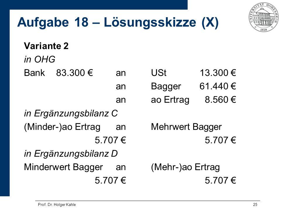 25 Variante 2 in OHG Bank83.300 anUSt13.300 anBagger61.440 anao Ertrag8.560 in Ergänzungsbilanz C (Minder-)ao ErtraganMehrwert Bagger5.707 in Ergänzun