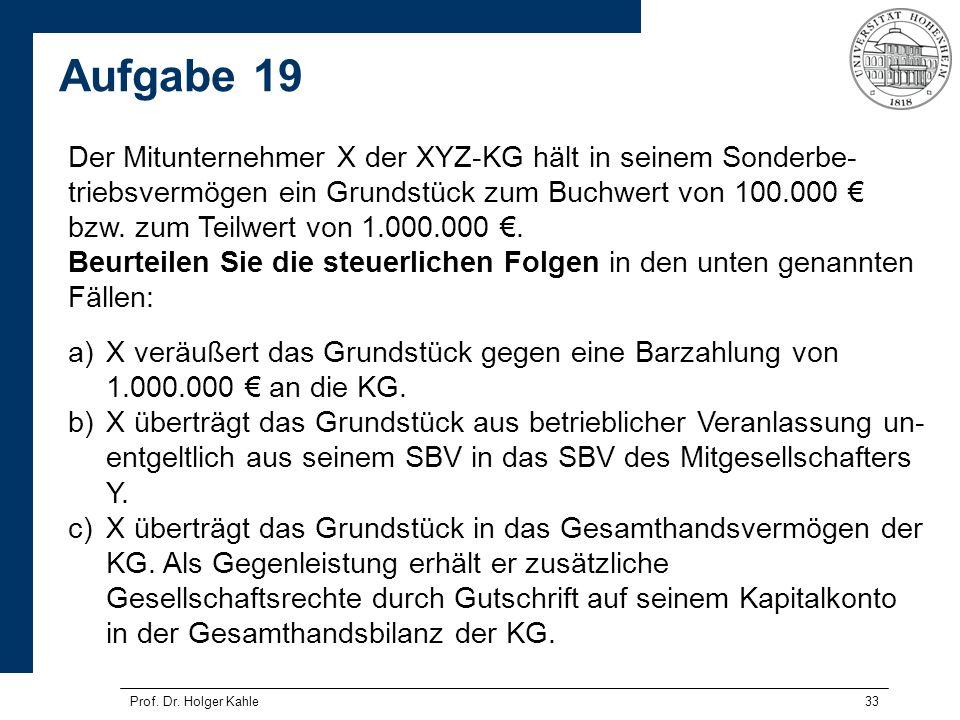 33 Der Mitunternehmer X der XYZ-KG hält in seinem Sonderbe- triebsvermögen ein Grundstück zum Buchwert von 100.000 bzw. zum Teilwert von 1.000.000. Be