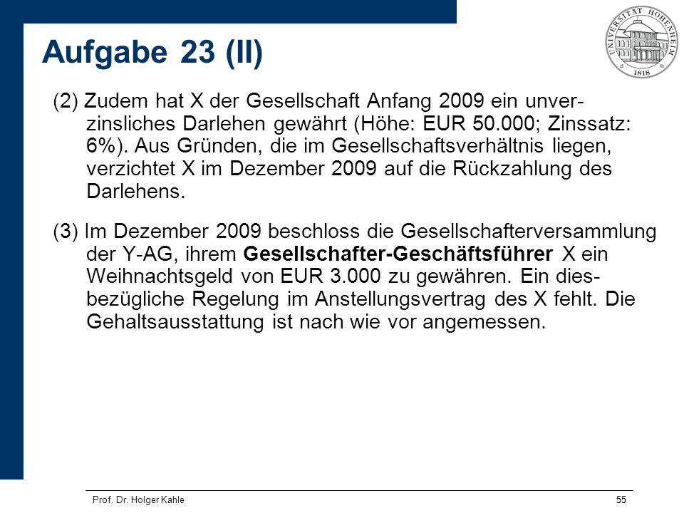 55Prof. Dr. Holger Kahle55 (2) Zudem hat X der Gesellschaft Anfang 2009 ein unver- zinsliches Darlehen gewährt (Höhe: EUR 50.000; Zinssatz: 6%). Aus G