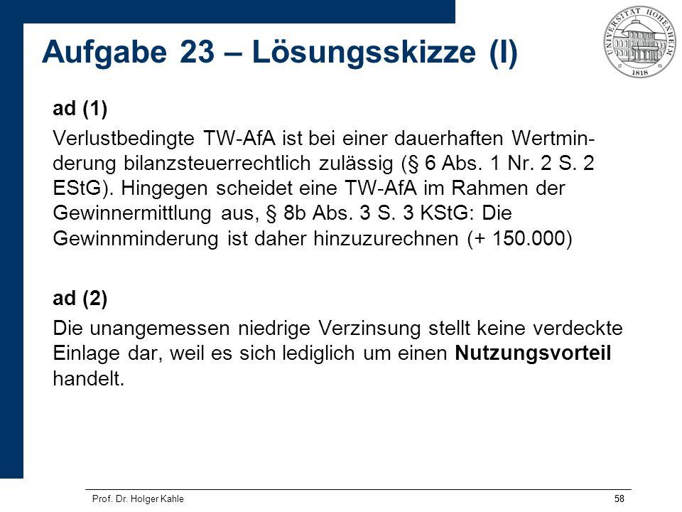 58Prof. Dr. Holger Kahle58 ad (1) Verlustbedingte TW-AfA ist bei einer dauerhaften Wertmin- derung bilanzsteuerrechtlich zulässig (§ 6 Abs. 1 Nr. 2 S.