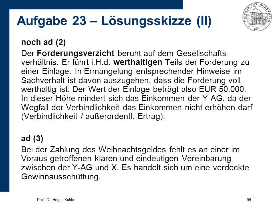 59Prof. Dr. Holger Kahle59 noch ad (2) Der Forderungsverzicht beruht auf dem Gesellschafts- verhältnis. Er führt i.H.d. werthaltigen Teils der Forderu