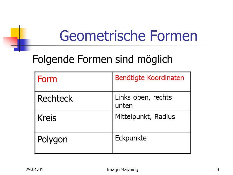 29.01.01Image Mapping3 Geometrische Formen Folgende Formen sind möglich Form Benötigte Koordinaten Rechteck Links oben, rechts unten Kreis Mittelpunkt, Radius Polygon Eckpunkte