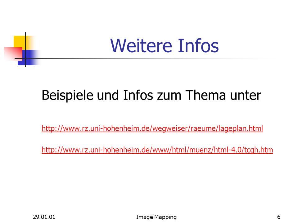 29.01.01Image Mapping6 Weitere Infos Beispiele und Infos zum Thema unter http://www.rz.uni-hohenheim.de/wegweiser/raeume/lageplan.html http://www.rz.uni-hohenheim.de/www/html/muenz/html-4.0/tcgh.htm