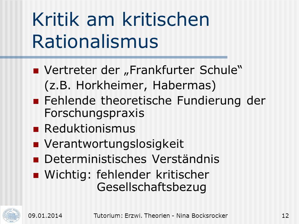 Tutorium: Erzwi. Theorien - Nina Bocksrocker1109.01.2014 Empirisch-analyt. Erziehungswissenschaft (4) III. Verwertungs- und Wirkungszusammenhang: Was
