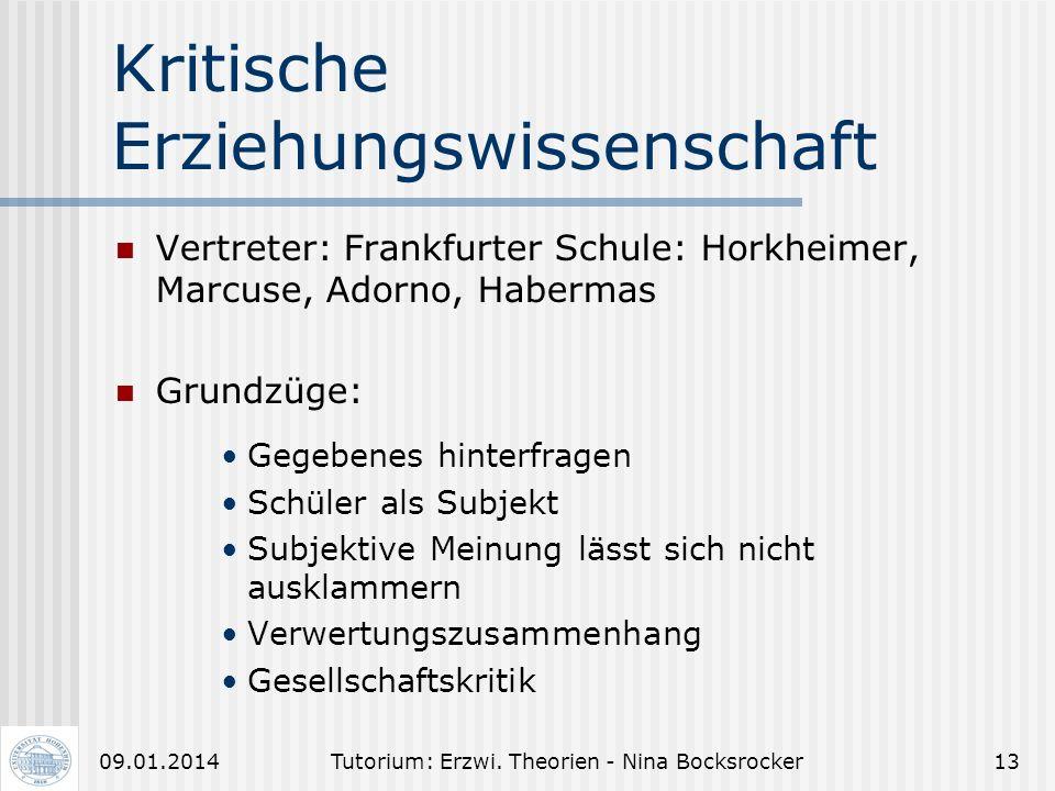 Tutorium: Erzwi. Theorien - Nina Bocksrocker1209.01.2014 Kritik am kritischen Rationalismus Vertreter der Frankfurter Schule (z.B. Horkheimer, Haberma