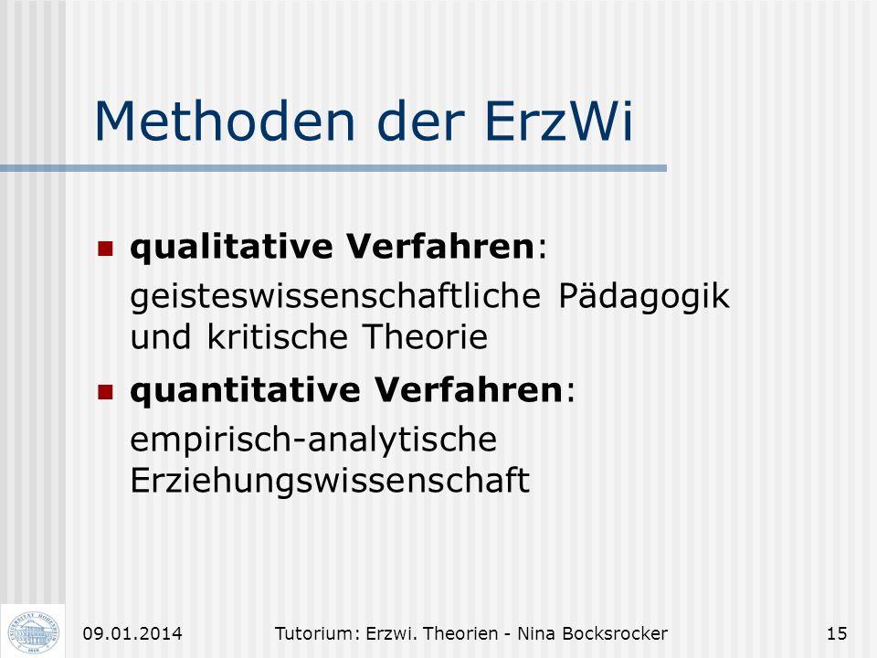 Tutorium: Erzwi. Theorien - Nina Bocksrocker1409.01.2014 Unterscheide: Erziehungswissenschaft Pädagogik Wissenschaft i. e. S. Eher sozial und individu