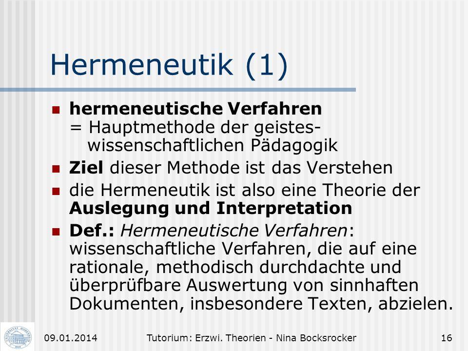Tutorium: Erzwi. Theorien - Nina Bocksrocker1509.01.2014 Methoden der ErzWi qualitative Verfahren: geisteswissenschaftliche Pädagogik und kritische Th