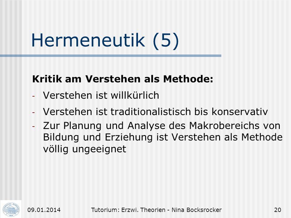 Tutorium: Erzwi. Theorien - Nina Bocksrocker1909.01.2014 Hermeneutik (4) 8. Gedankliche Gliederung des Textes 9. Logischer Aufbau des Textes 10. Herme