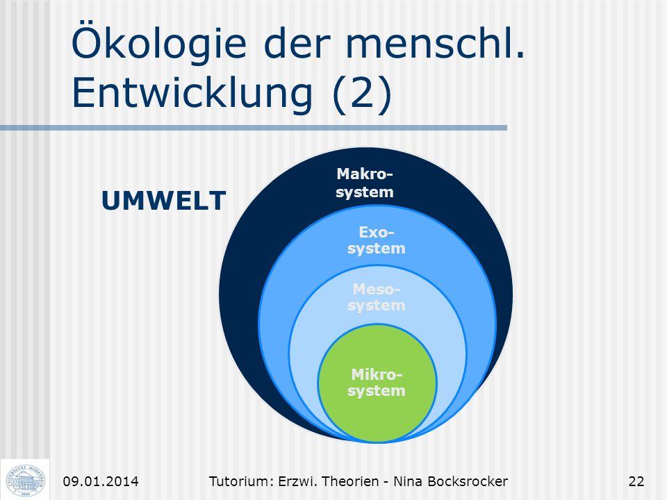 Tutorium: Erzwi. Theorien - Nina Bocksrocker2109.01.2014 Ökologie der menschl. Entwicklung (1) Unterscheide: - Lernsituation - Arbeitssituation - Lern