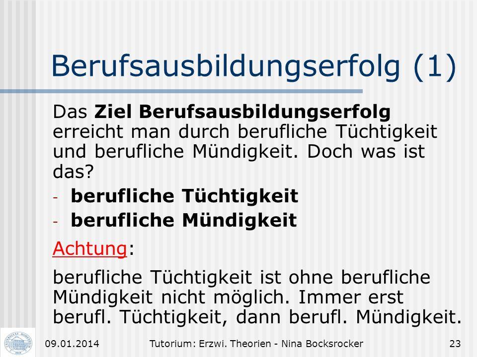 Tutorium: Erzwi. Theorien - Nina Bocksrocker2209.01.2014 Ökologie der menschl. Entwicklung (2) Makro- system Exo- system Meso- system Mikro- system UM
