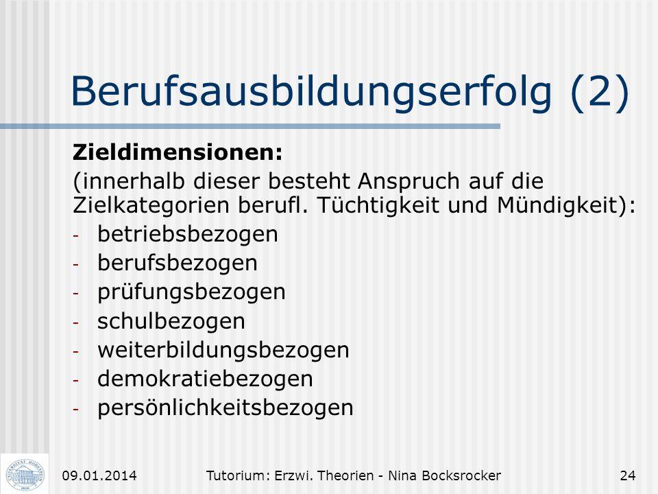 Tutorium: Erzwi. Theorien - Nina Bocksrocker2309.01.2014 Berufsausbildungserfolg (1) Das Ziel Berufsausbildungserfolg erreicht man durch berufliche Tü